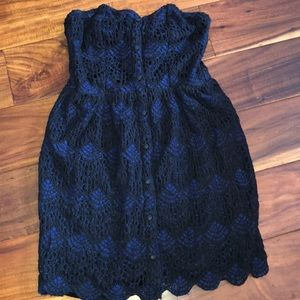 Volcom Navy and  black lace top